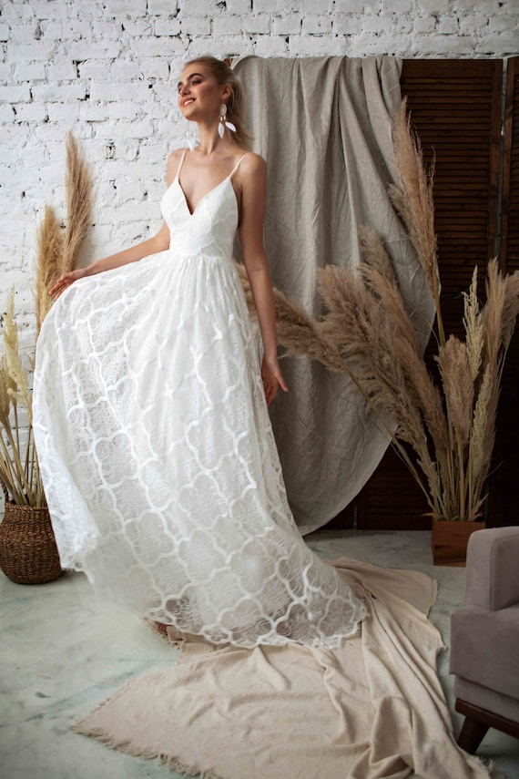Beach Wedding Dress Boho Wedding Dress V Neck Wedding Etsy