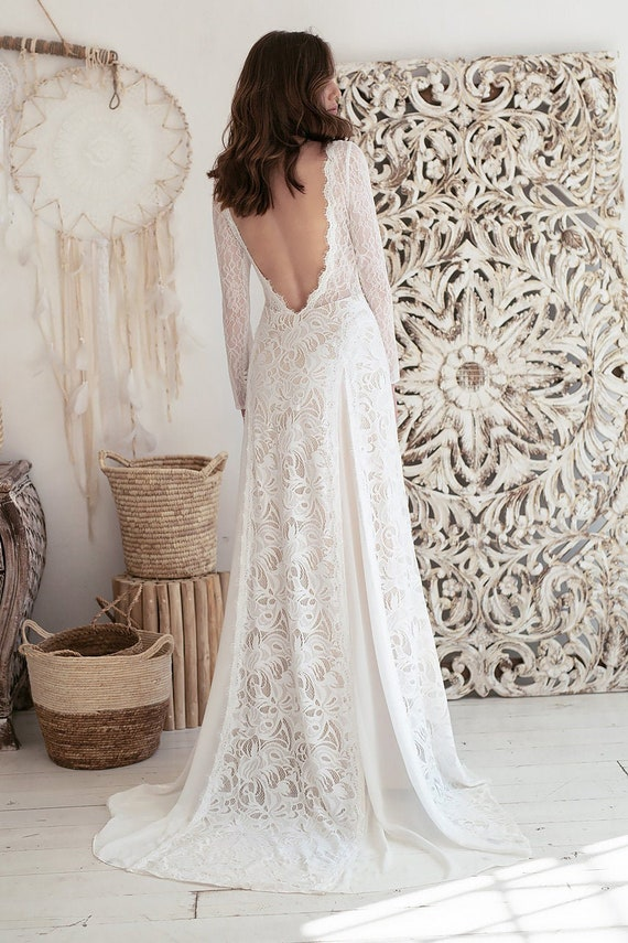 Long Sleeve Lace Wedding Dress Boho Wedding Dress Romantic Etsy