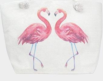 Flamingo Beach Bag Tote Pink and White