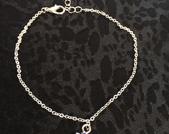 Sea Shell Anklet in Navy Blue Made Of Sterling Silver