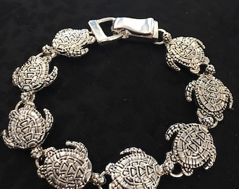 Turtle Bracelet All Around Made Of Sterling Silver