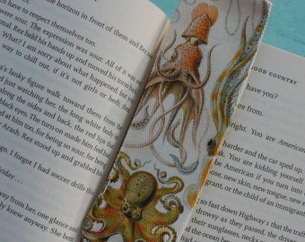 Octopus and squid print fabric bookmark, artwork by Ernst Haeckel