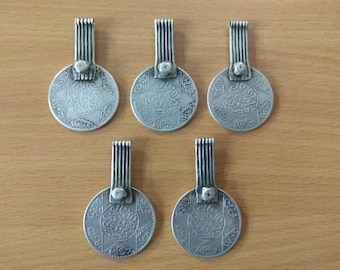 5 Antique Berber Silver Coin Pendant from Morocco