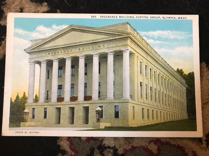 Antique Postcard of Insurance Building Capital Group in Olympia Washington c 1930s