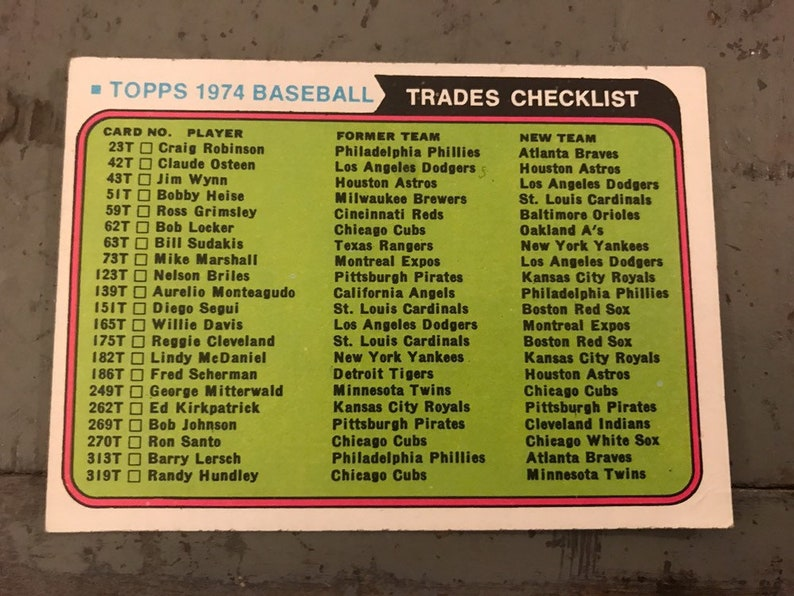 1974 Topps Baseball Trades Checklist *Unmarked!*