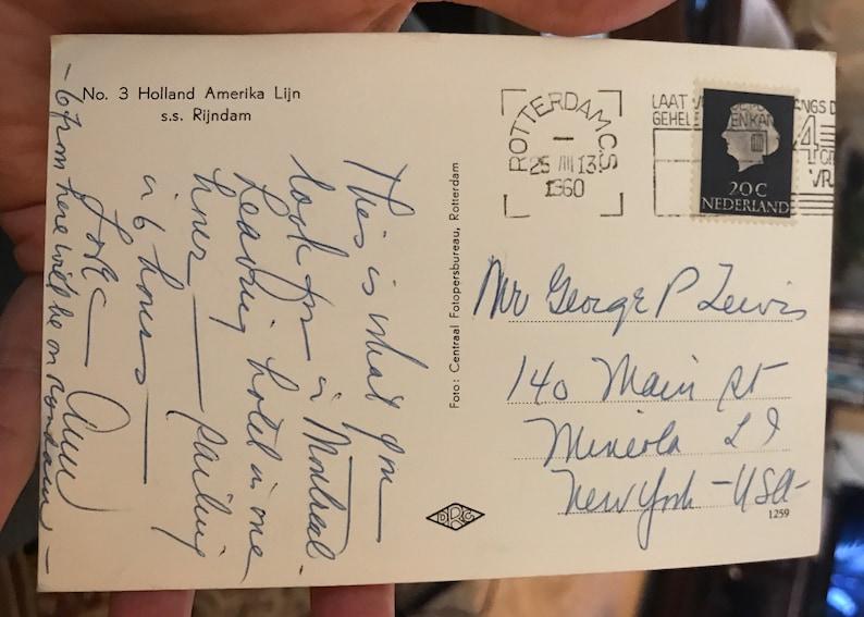 Lovely RPPC Real Photo Postcard 1960 No 3 Holland America Amerika Lijn Line Rijndam