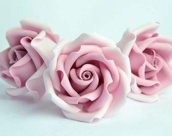 Dusky pink flower etsy light dusky pink 2 set of 3 sugar paste handmade cake topper wedding cake edible sugar flower mightylinksfo