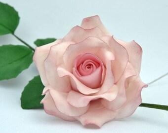 Dusky pink flower etsy tea rose sugar flower size 3handmade cake topper wedding edible dusky pink mightylinksfo