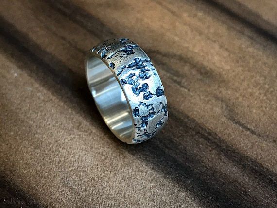 Corrosion Distressed and Oxidized Sterling Silver Dome Ring