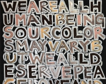 WE are ALL HUMAN Original Canvas Art 16x20in (Acrylic on Cotton Canvas)