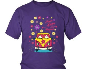 Peace, Love, Happiness, Flower Power, Mellow VW Hippie Bus T-shirts for Hippie Power