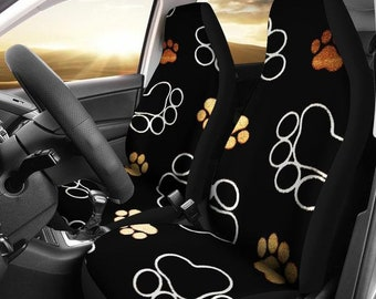 Dog And Cat Lovers Paw Print Universal Fit Car Seat Cover Set