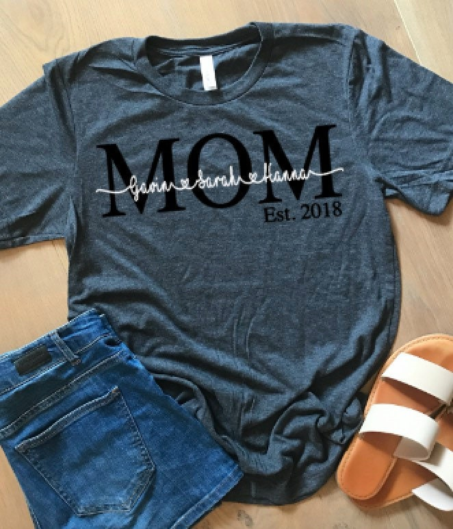 Mom Established Tshirt With Kids Names Mothers Day