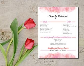 salon services menu template etsy