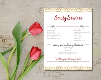 Salon Services Menu Made To Order