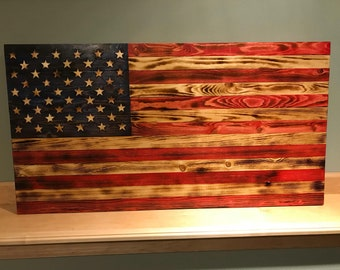 """Burnt wood American Flag with natural and red stripes. Large - 37.5""""x19"""""""