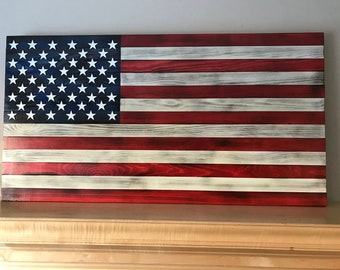 """Handmade rustic look American Flag with white stars and stripes great as a gift or to hang in your home.  Large - 37.5""""x19.5"""""""