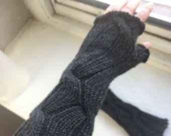 Charcoal Gray Fingerless Gloves