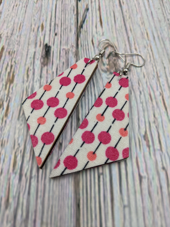 Dangle Earrings Pink Mod Dot Print Polka Dot Earrings   Etsy