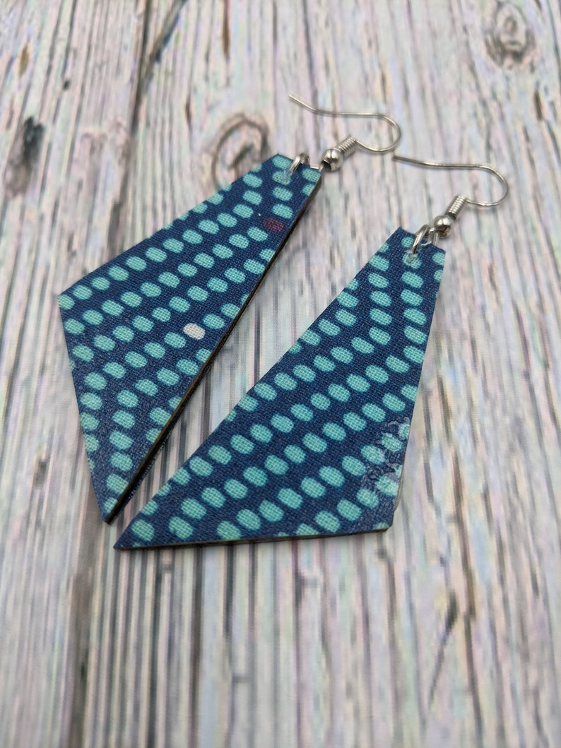 Teal Dot Print Aqua Dots Dangle Earrings Aqua Earrings Lightweight Earrings Dangle Earrings Dangle Earrings Boho Wood Earrings