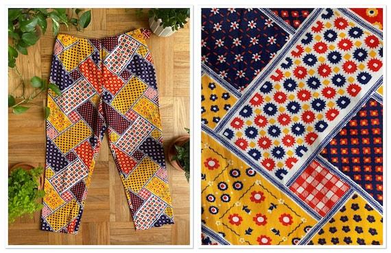 Vintage 1960s Patchwork Print Cropped Pants size 3