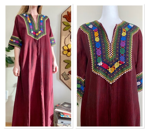 60s/70s Maroon Caftan with Colourful Embroidery