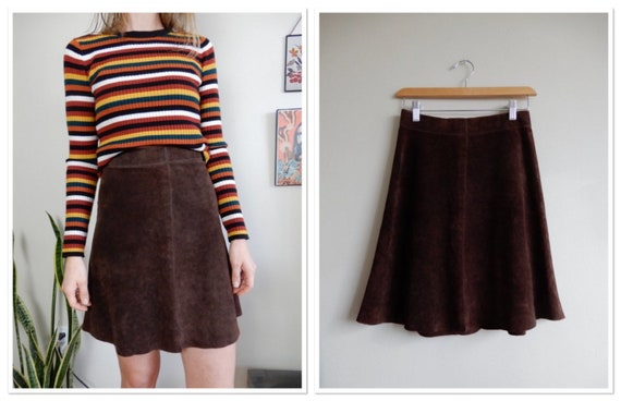 1960s Chocolate Brown Suede Skirt