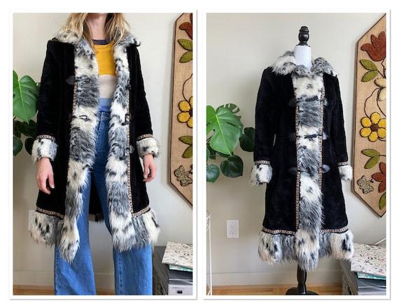 1960s Nicollini Black Faux Fur Penny Lane Coat wit