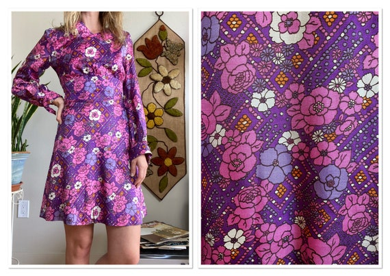 1960s/1970s Pink and Purple Flower Power Print Lon