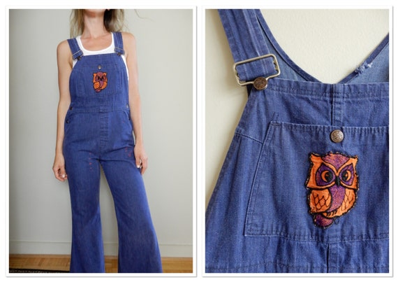 1970s Sears Flared Denim Overalls with Owl Patch