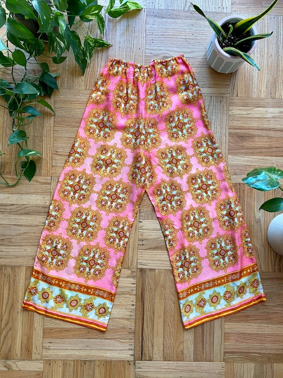 60s/70s Psychedelic Pink Palazzo Pants - image 2