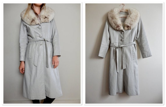 1960s Penny Lane style Grey Leather Belted Trench