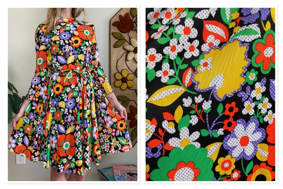 1970s Technicolor Flower Power Print Tent Dress