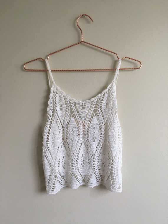 1970s Ivory Crochet Lace Cropped Tank Top