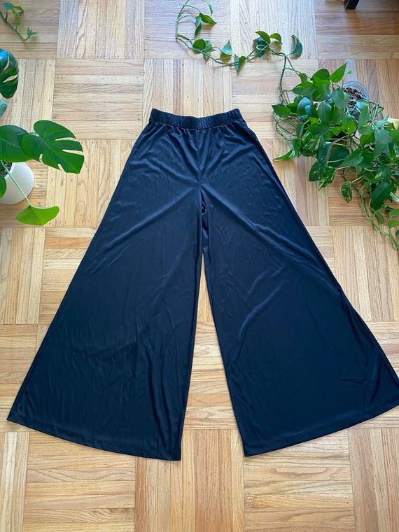 1970s Black Polyester Palazzo Pants Wide Leg Bell… - image 2