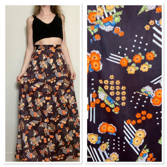 1970s Maxi Skirt in Mixed Floral Print Brown Yello