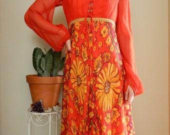 1970s orange daisy maxi dress • Vintage • Hippie • Boho • Gypsy • Groovy • Floral • Sleeves • Retro • Summer • Lacing • Folk • Gold •
