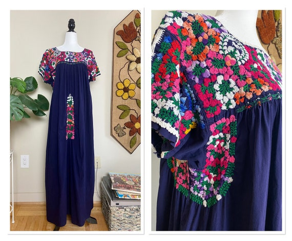 Vintage Navy Blue Cotton Hand Embroidered Mexican