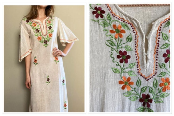 1960s Made in India Embroidered Gauze Maxi Dress w