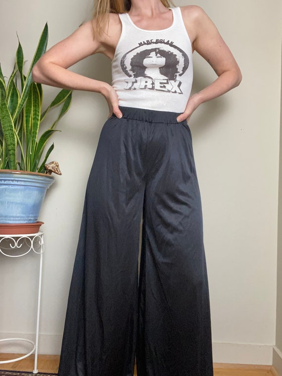 1970s Black Polyester Palazzo Pants Wide Leg Bell… - image 3