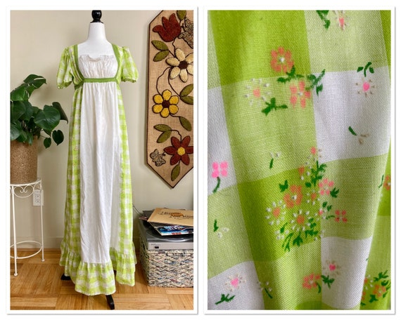 1970s Handmade Prairie Dress Eyelet and Green Ging