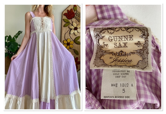 1970s Purple Gingham Gunne Sax Sundress Size 5