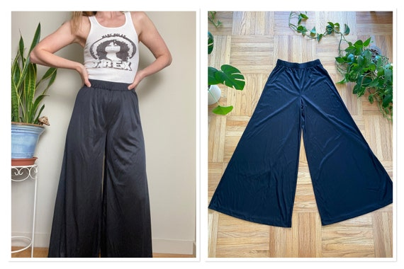 1970s Black Polyester Palazzo Pants Wide Leg Bell… - image 1
