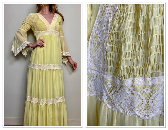 1970s Candi Jones California Yellow Hippie Maxi Dr