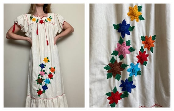 1970s Floral Embroidered Hippie Maxi Sundress