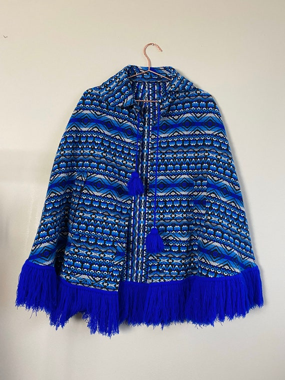 1970s Blue Fringe Poncho Cape with Pockets