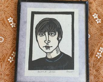 "Original ""Beatle John"" artist print in frame • Vintage • Folk • Classic Rock • Rock and Roll • Music Print • The Beatles • John Lennon •"