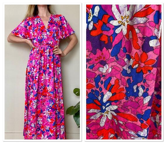 Vintage 1970s Flutter Sleeve Pink Floral Maxi Dres