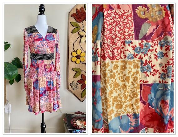 1970s Petite Patchwork Print Long Sleeve Mini Dres