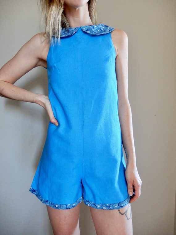 1960s Vintage Blue Romper with Peter Pan Collar